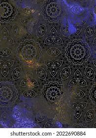 An illustration of a metallic lattice design revealing blue and orange lights behind it.