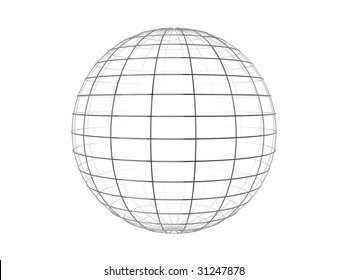 Illustration of a metallic wire frame sphere, isolated on a white background.
