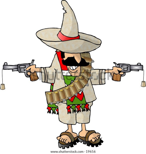 Illustration of a Mexican bandito holding two toy pistols.