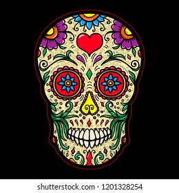 Illustration of mexican sugar skull isolated on black background. Design element for poster, card, t shirt