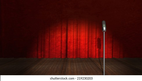 Illustration of Microphone on stage with curtain