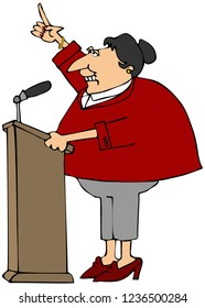 Illustration of a middle aged woman speaking from behind a podium with one arm raised.