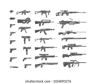 illustration Military weapon icons set for design. A collection of 29 different kinds of silhouettes of handguns Isolated on white background
