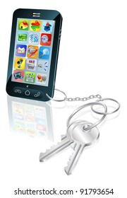 Illustration of mobile phone with keys attached. Concept for secure phone access or phone unlocking.