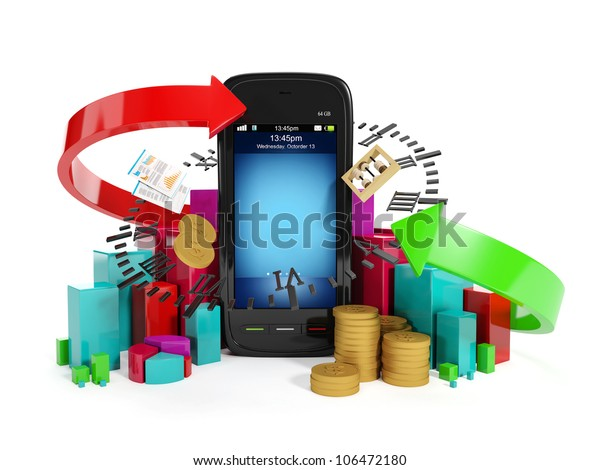 3�¤ illustration: Mobile technology business. Graphics business money the income and expenses on a white background