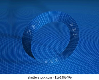 Illustration of mobius strip. 3D model with grid.