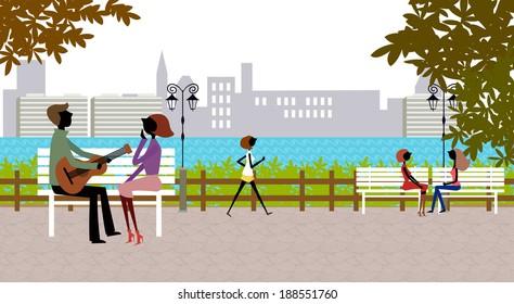 Illustration of modern city life