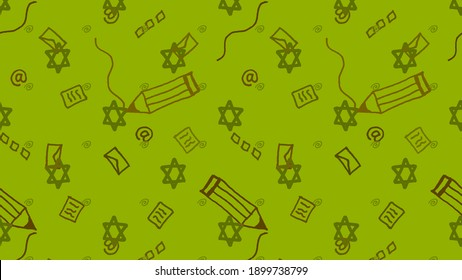 Illustration of modern Jewish writings with a Magen David print and pencils, sheets of paper and envelopes for traditional and electronic correspondence on a green background