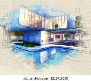Illustration of a Modern luxurious designers house with pool  3d rendering