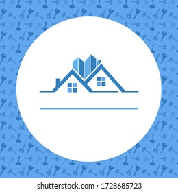 Illustration of Modern Real Estate Icon With Blue Background