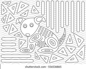 Illustration of mola design in native Kuna style designed for coloring book.