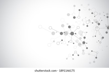 Illustration of molecular structure and genetic engineering, molecules DNA, neural network, scientific research. Abstract background for innovation technology, science, healthcare, and medicine