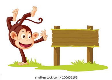 Illustration of a monkey on a sign - EPS VECTOR format also available in my portfolio.
