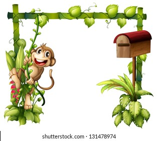 Illustration of a monkey swinging beside a wooden mailbox on a white background
