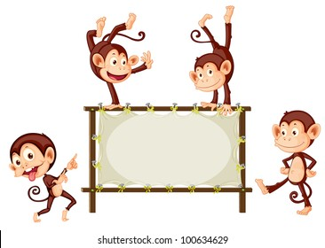 Illustration of monkeys and blank sign - EPS VECTOR format also available in my portfolio.