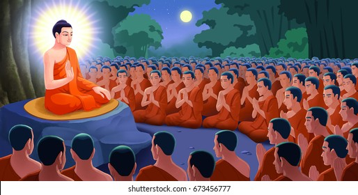 Illustration, Monks come to see the Buddha without previous arrangement. (Asalha Puja Day)