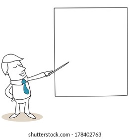 Illustration of a monochrome cartoon character: Businessman talking and pointing at big screen with a stick.