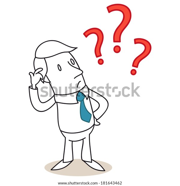 Illustration of a monochrome cartoon character: Clueless businessman scratching his head with three red question marks.