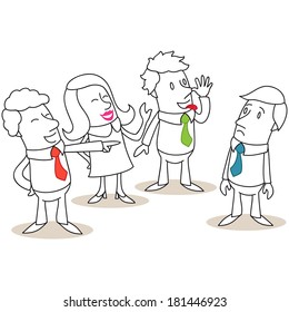 Illustration of a monochrome cartoon character: Group of business people mocking and bullying colleague.