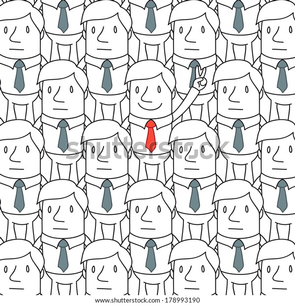 Illustration of a monochrome cartoon character: Smiling businessman showing victorious gesture while standing in a homogeneous crowd.