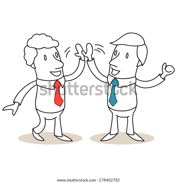 Illustration of monochrome cartoon characters: Two business people smiling and high-fiving.