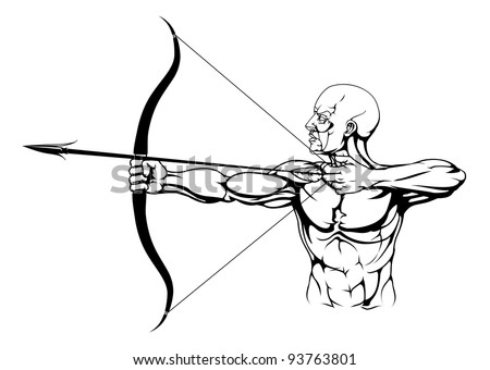 Illustration Monochrome Strong Archer Bow Arrow Stock Illustration