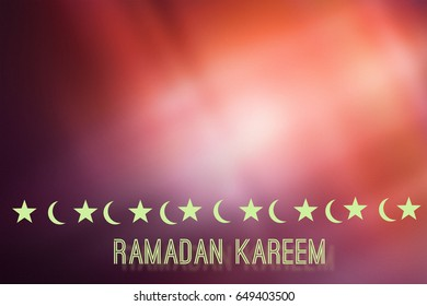an Illustration of moon and stars for the Muslim holy month Ramadan Kareem with a shiny background