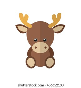 illustration of a moose in a flat style. Moose cartoon icon.
