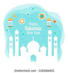 Illustration of mosque with quote. Islamic New Year is the day that marks the beginning of a new Islamic calendar year, and is the day on which the year count is incremented.