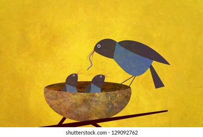 Illustration of a mother bird feeding a worm to her baby chicks