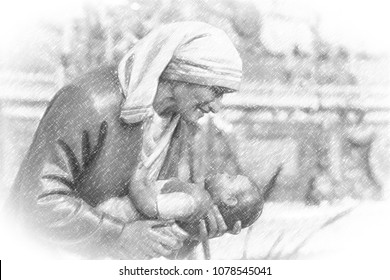 illustration of  of Mother Teresa of Calcutta holding a child