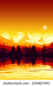 An illustration of a mountain landscape scenery sunset