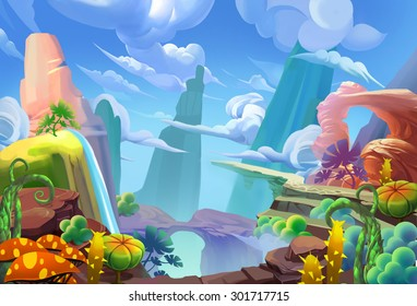 Illustration: Mountain Top. Cartoon Style. Fantastic Nature Topic. Scene / Wallpaper / Background Design.