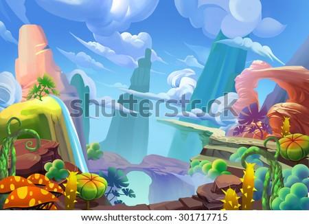 Illustration Mountain Top Cartoon Style Fantastic Nature Topic Scene Wallpaper