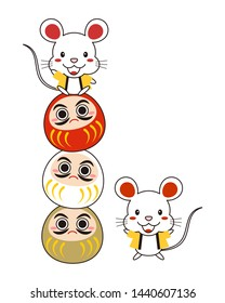 Illustration of a mouse doing a performance on a Daruma doll