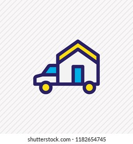 illustration of moving icon colored line. Beautiful construction element also can be used as house on truck icon element.