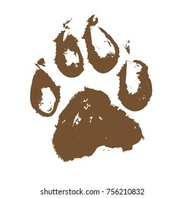 Illustration of a muddy dog paw print