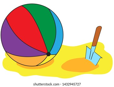 Illustration of a multicolored inflatable ball and a childrens shovel on the sand