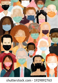 Illustration of multiracial masked people being aware of coronavirus pandemic