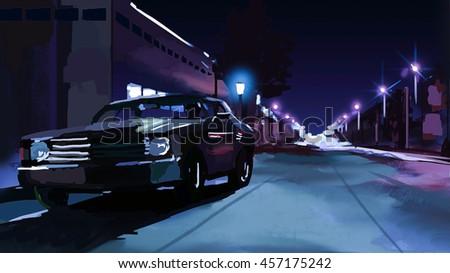Illustration Muscle Car On Night Street Stock Illustration 457175242