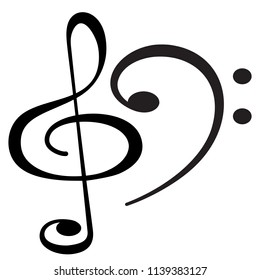 Illustration of the musical clef symbols