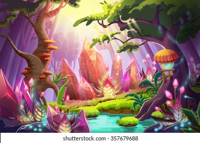 Illustration: The Mysterious Forest with Huge Diamonds Clusters. Realistic Fantastic Cartoon Style Artwork Scene, Wallpaper, Story Background, Card Design