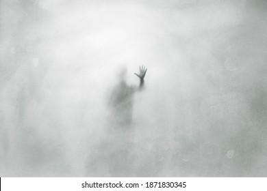 Illustration des geheimnisvollen Mannes hinter Glasoberfläche, gruseliges abstraktes Konzept