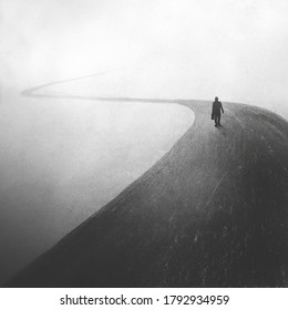 illustration of mysterious man walking in a dark foggy street, solitude concept