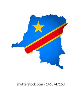 Illustration with national flag with simplified  shape of Democratic Republic of the Congo  map (jpg). Volume shadow on the map
