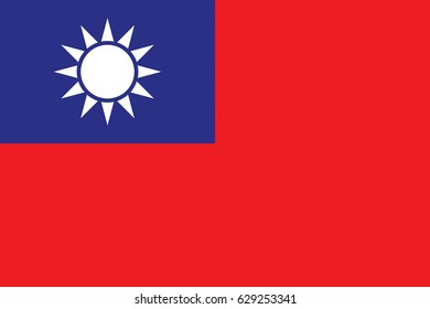 Illustration of the national flag of Taiwan