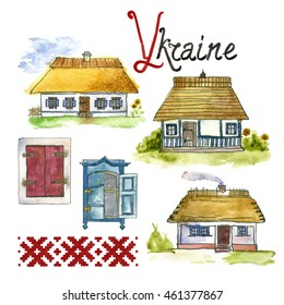 Illustration of national Traditional ukrainian village houses. Hand drawn typical Authentic ukrainian antique houses for design, emblems, logo, banners, flyers, cards, postcards