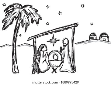 illustration of nativity in black and white