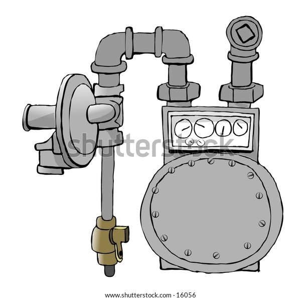 Illustration of a natural gas meter set with regulator