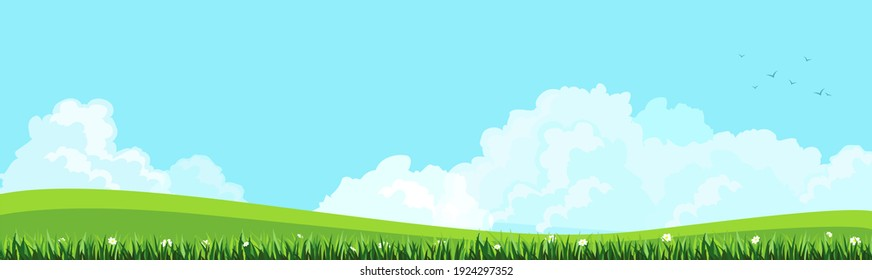 Illustration of natural landscapes, blue sky with white clouds.